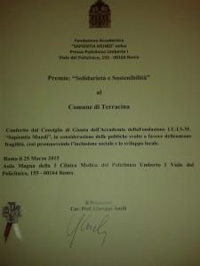 Il Premio Solidarietà e Sostenibilità al Comune di Terracina. Anxur Time