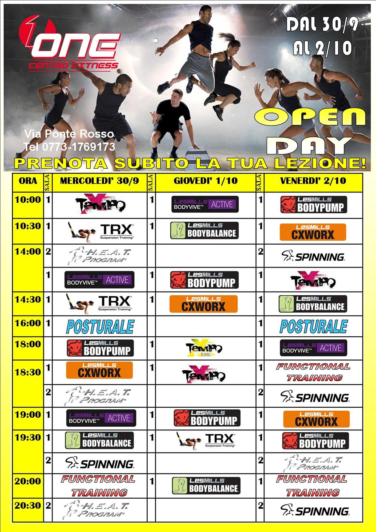 Open Day alla One Fitness. Anxur Time
